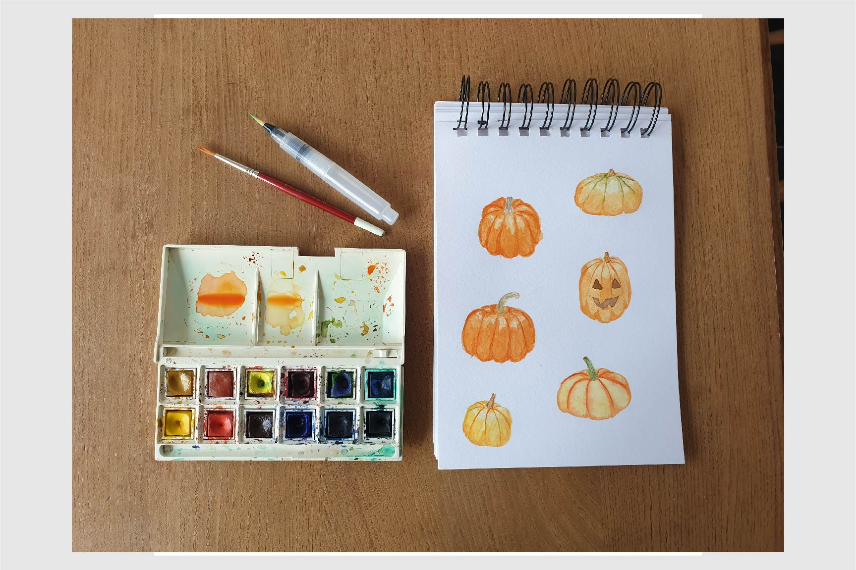 Watercolour pumpkins clip art set example image 2