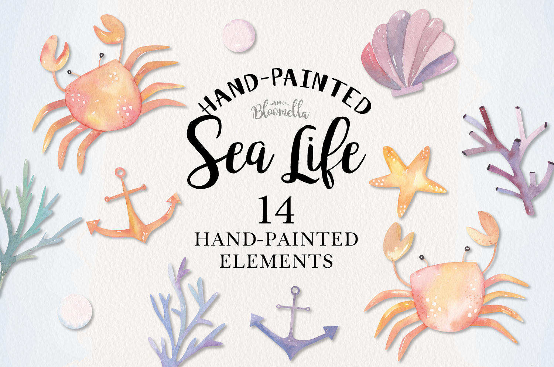 Sea Life Watercolor 14 Elements Ocean Cute Crabs Shell Pearl example image 1