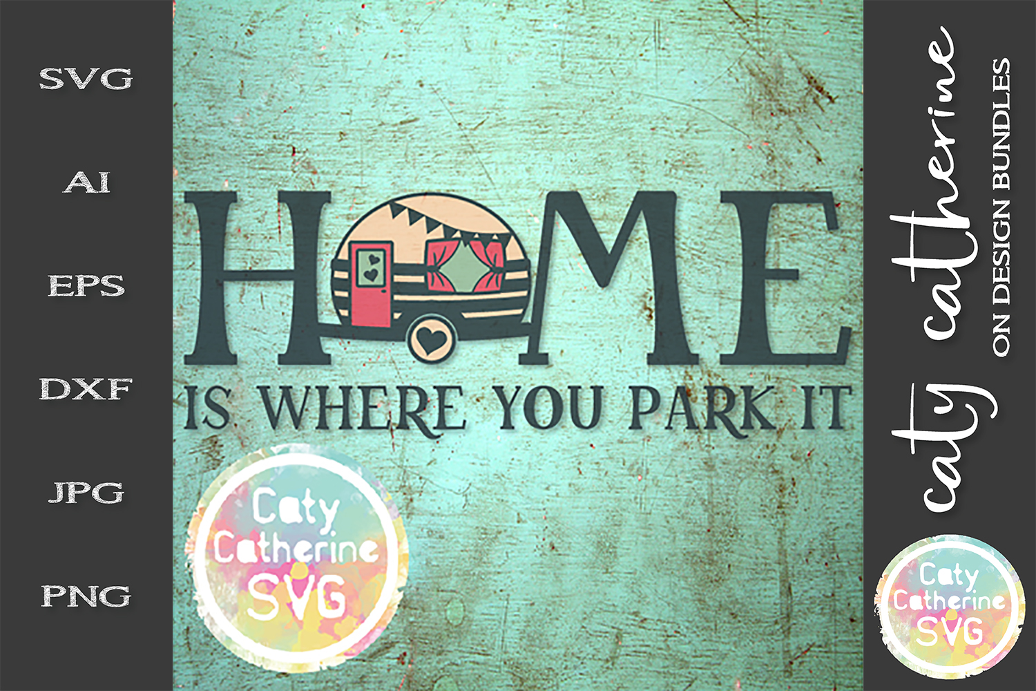 Home Is Where You Park It Caravan Camping SVG Cut File example image 1