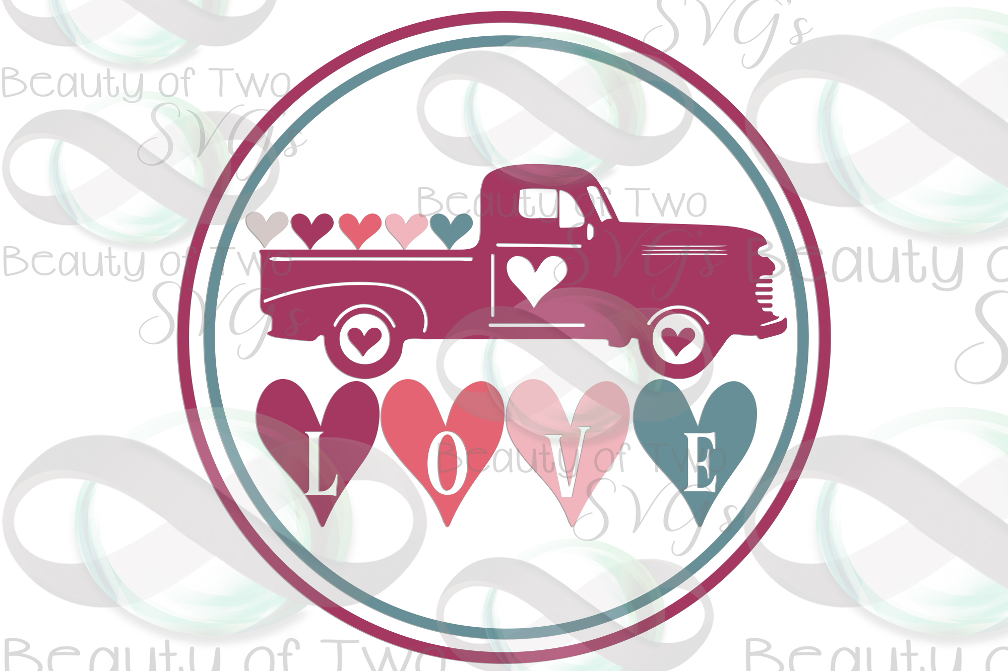 Valentines Vintage Truck love hearts wreath svg, love svg example image 3