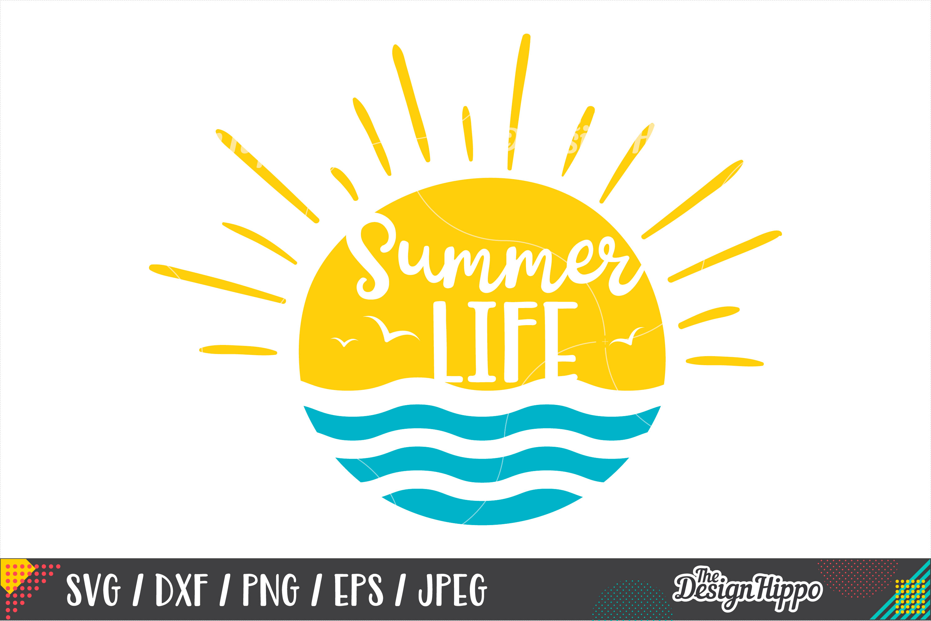 Summer Life SVG, Beach, Waves, Sunshine, SVG DXF PNG Files example image 1