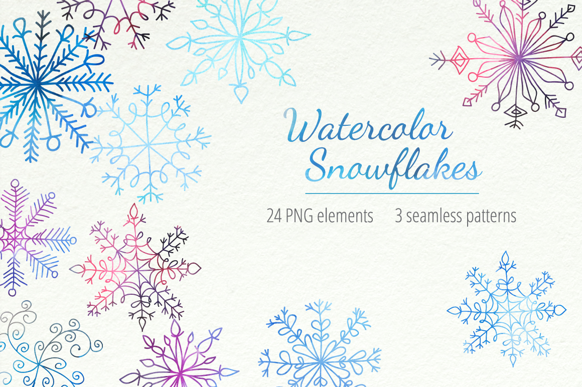 Watercolor Snowflakes Set Vol.1 example image 1