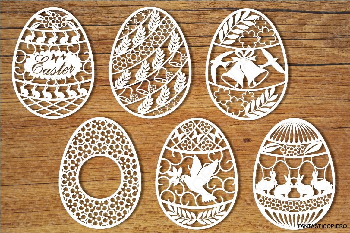 Easter eggs set 1 SVG files for Silhouette and Cricut. example image 1