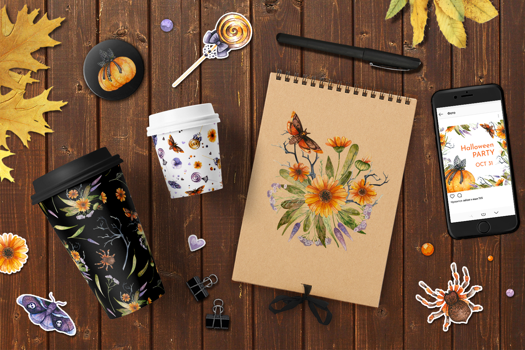 Floral Halloween. Watercolor backgrounds and elements example image 9
