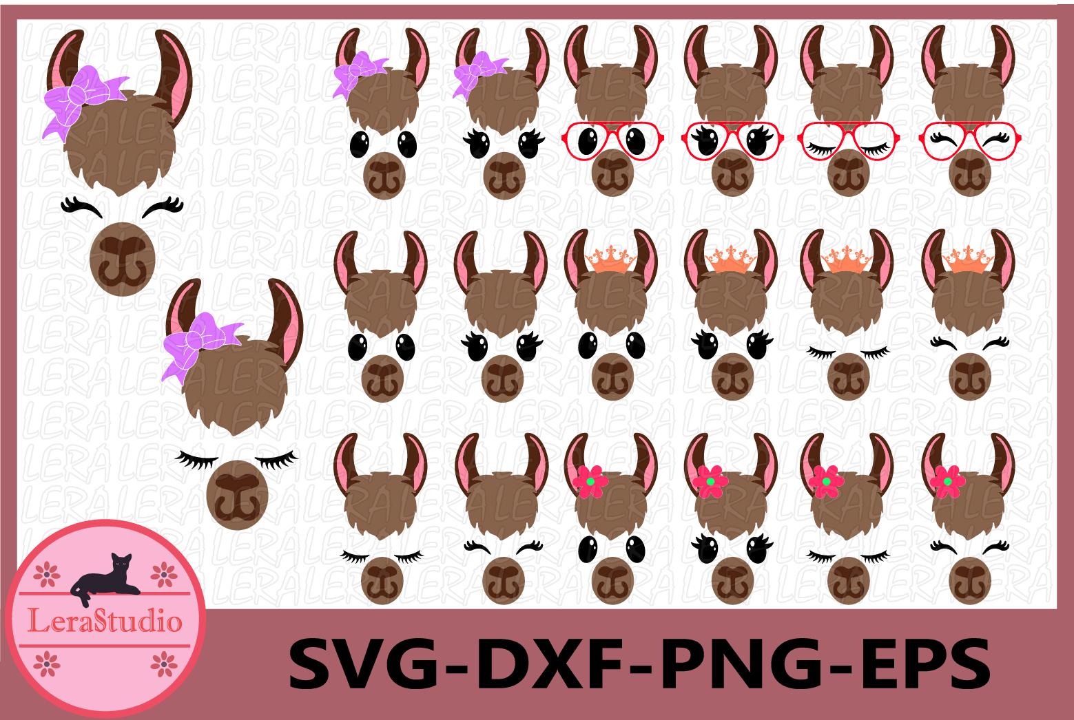 Llama SVG, Llama Face Svg, Eyelashes face Svg, Birthday example image 1
