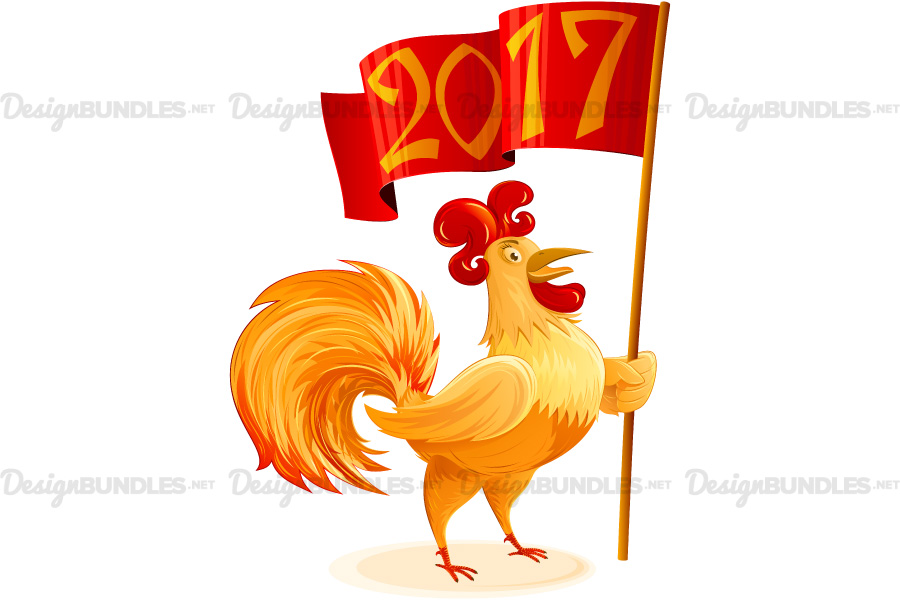 Vector Chinese New Year 2017 Rooster Flag Symbol Cartoon Character Colorful example image 1