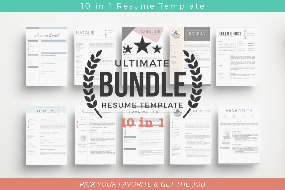 ULTIMATE BUNDLE Resume Template 10 in 1 example image 12