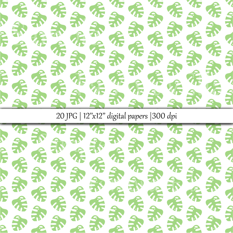 Monstera leaf JPG digital paper | 20 seamless backgrounds example image 2