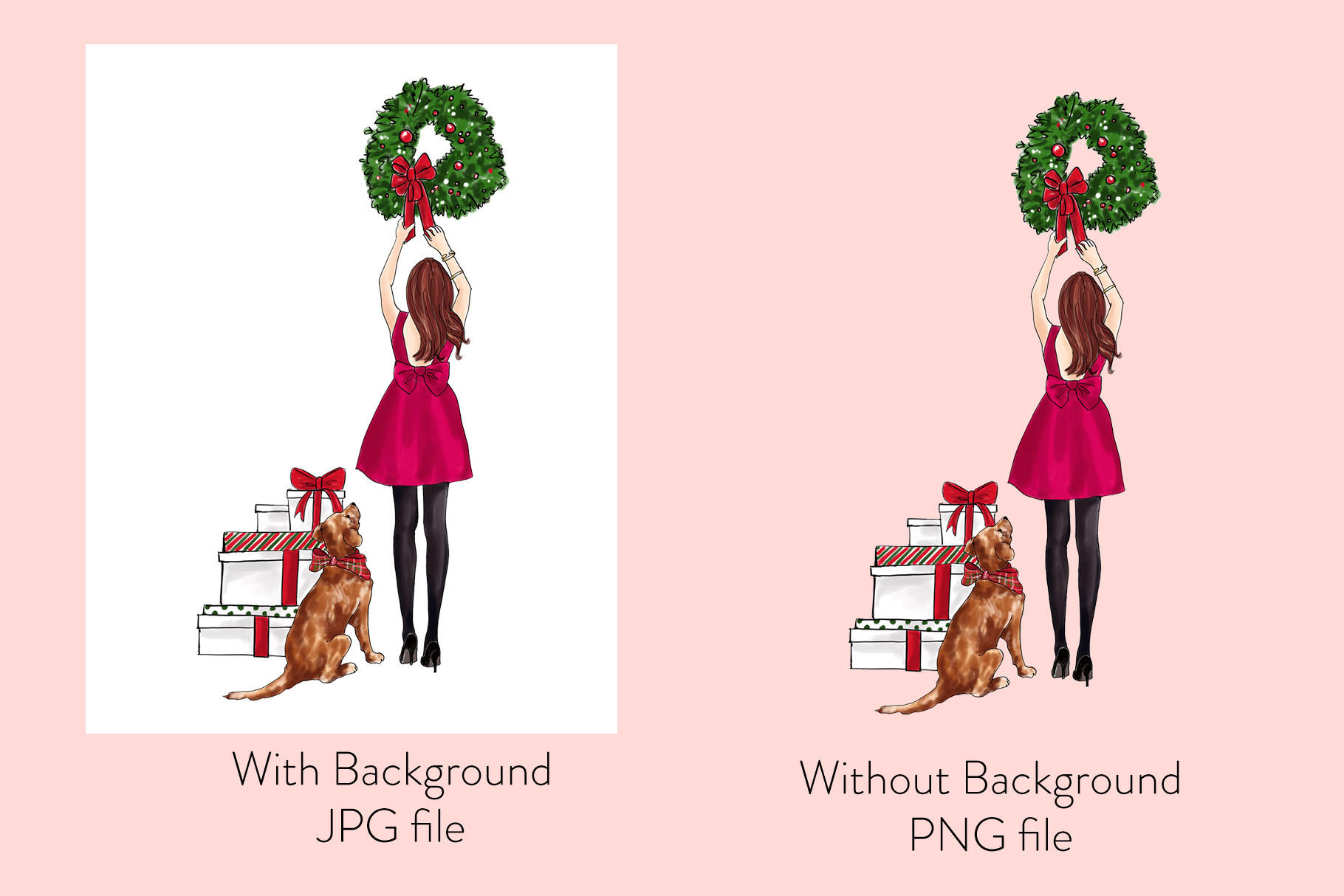 Fashion illustration - Christmas Girl 7 - Redhead example image 2