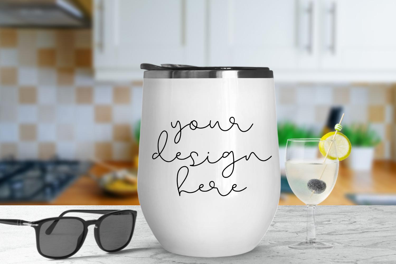 White Tumbler Mock Up With Kitchen Background - 1080x720px example image 1