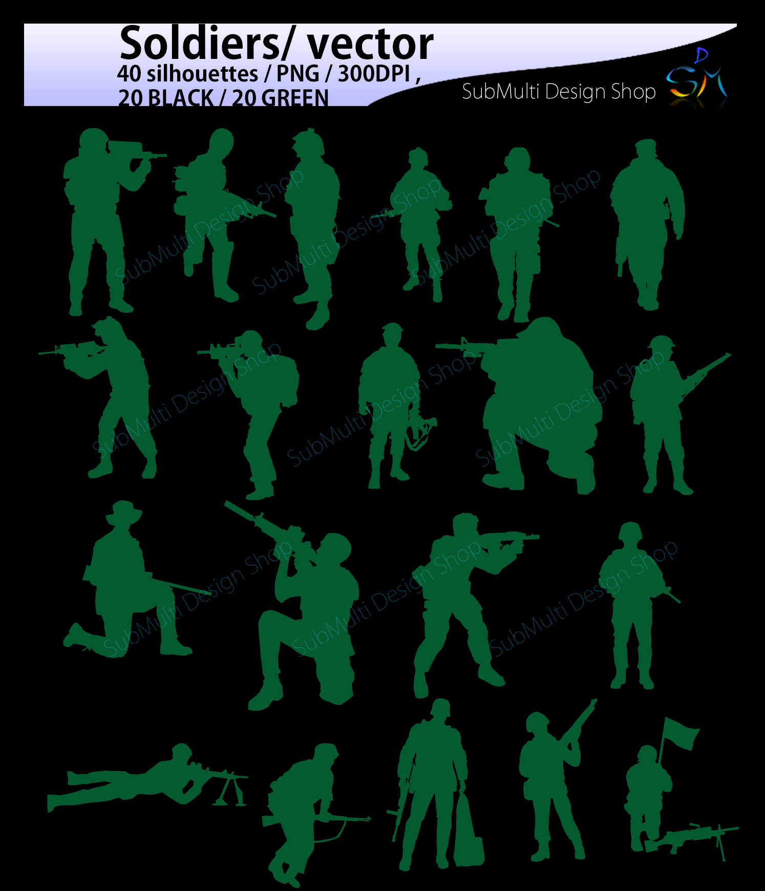 Soldiers svg / Soldiers silhouette / Hight Quality / Soldiers printable digital clipart / black and green / Army/ vector / PNG / SVG / EPS example image 3