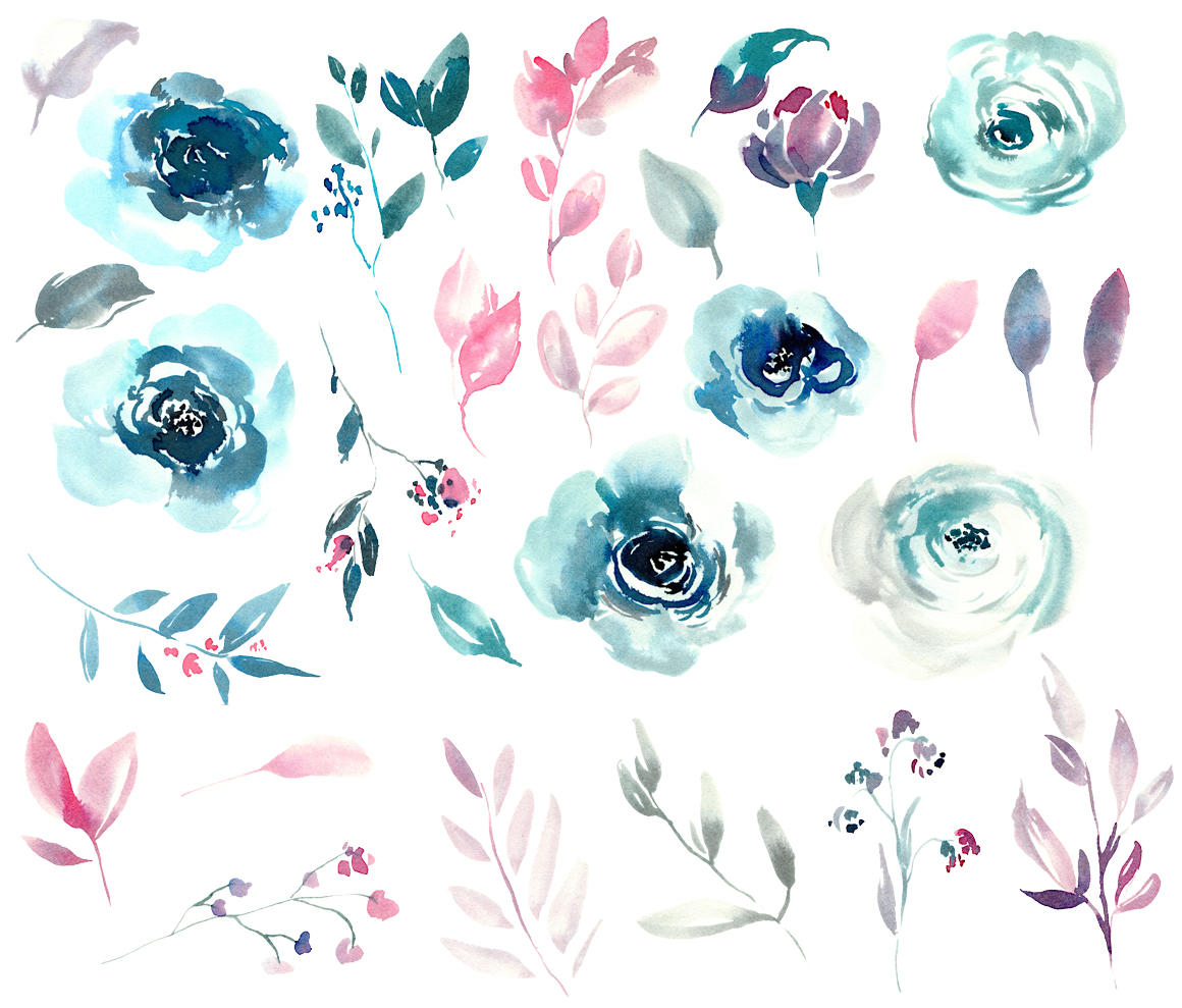 Watercolor blue winter roses PNG example image 2