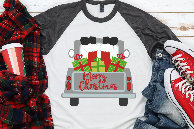 Santa - Merry Christmas - Christmas Vintage Truck Back SVG example image 1