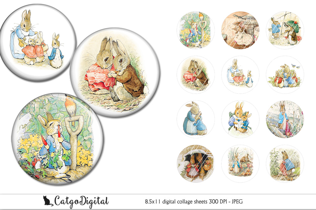 Beatrix Potter Peter Rabbit printable 2 inch circle example image 1
