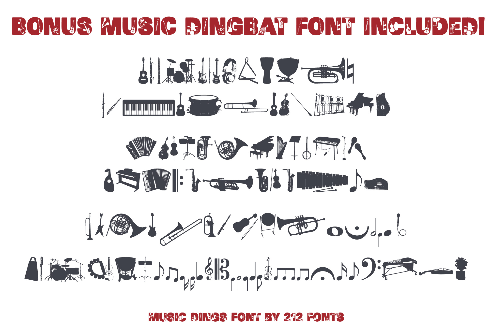 212 Music Caps Display Font Instruments Notes Alphabet OTF example image 5