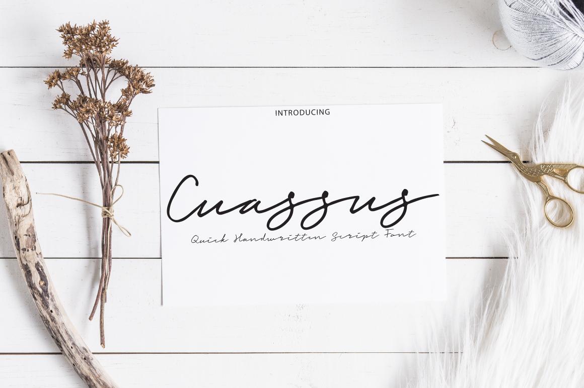 Cuassus | Script font example image 1