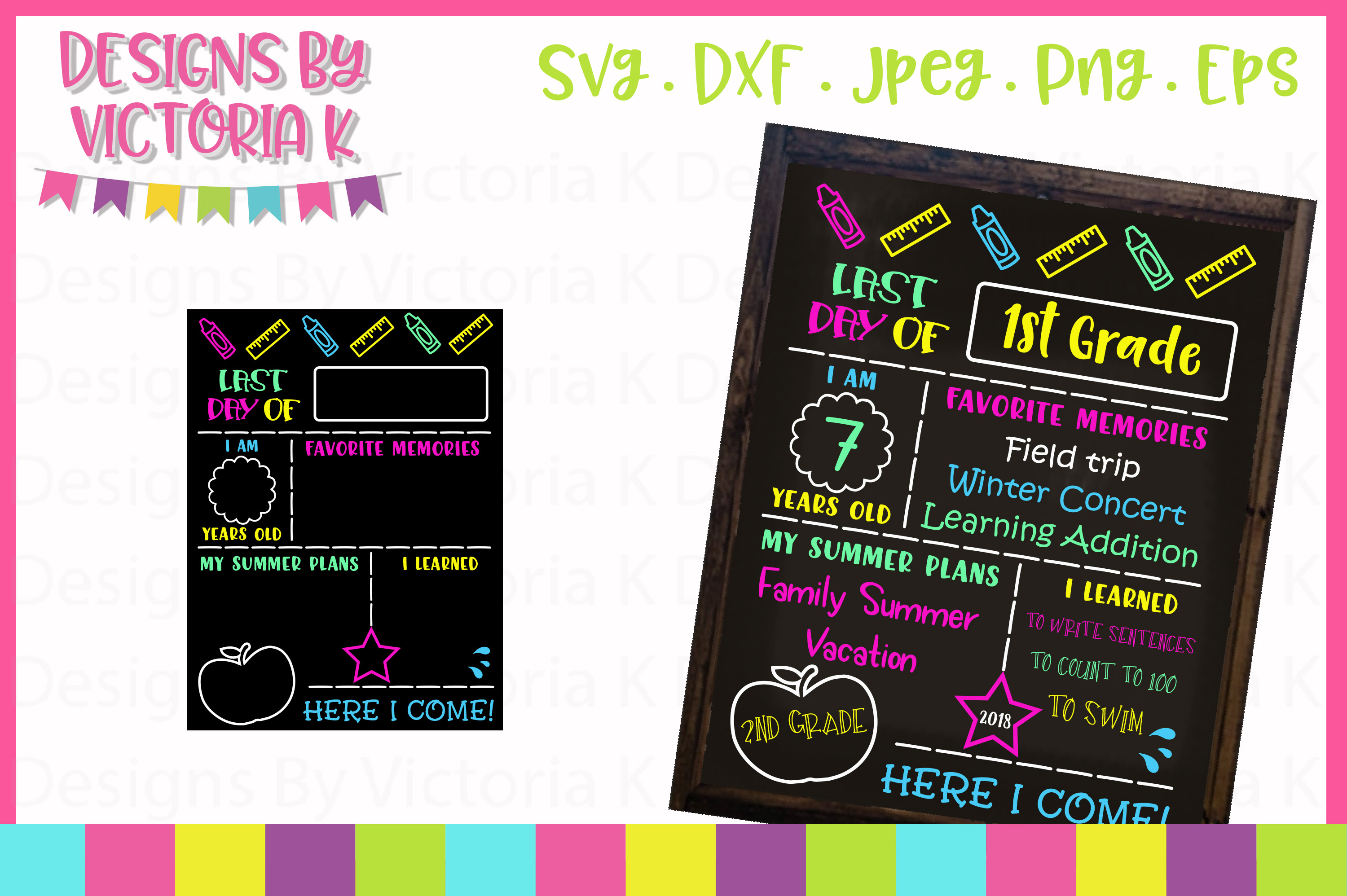 Last day of school board, chalkboard SVG, DXF, PNG example image 1