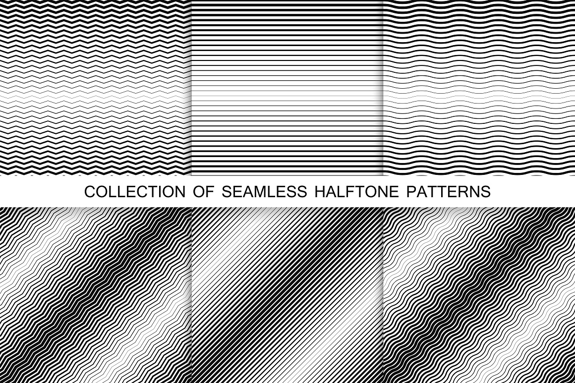 Striped halftone seamless patterns example image 1