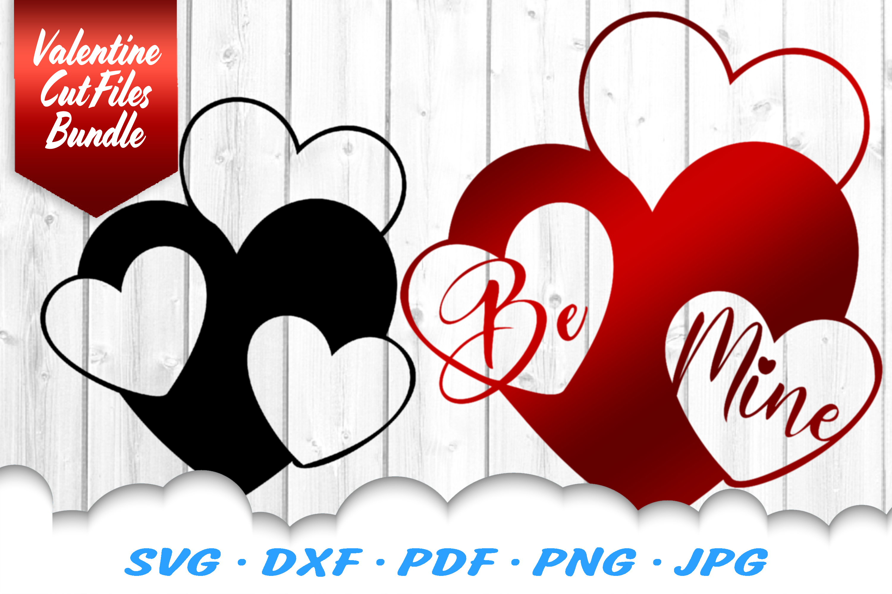 Valentines Hearts SVG DXF Cut Files Bundle example image 1