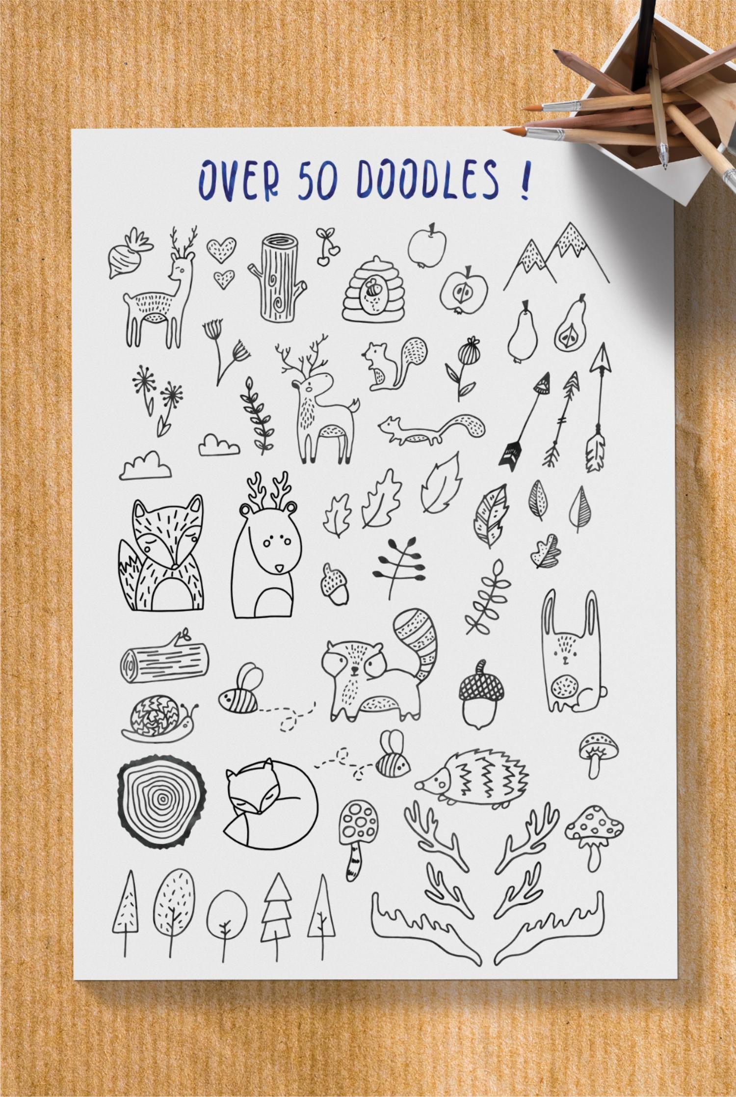 Bridgette script font & Woodland doodles example image 4