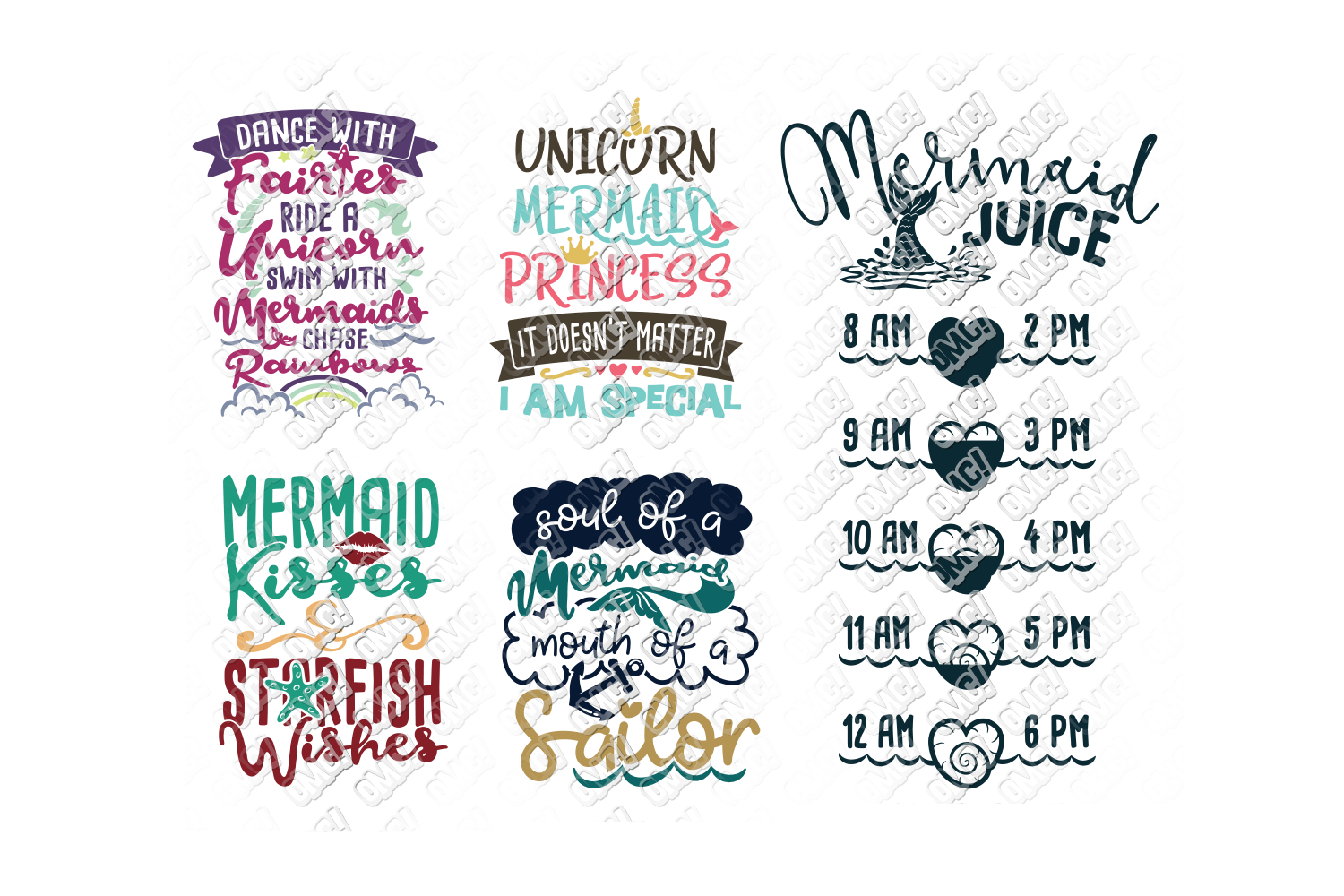 Mermaid SVG Bundle Quotes Sayings Monogram in SVG/DXF/PNG/JP example image 2