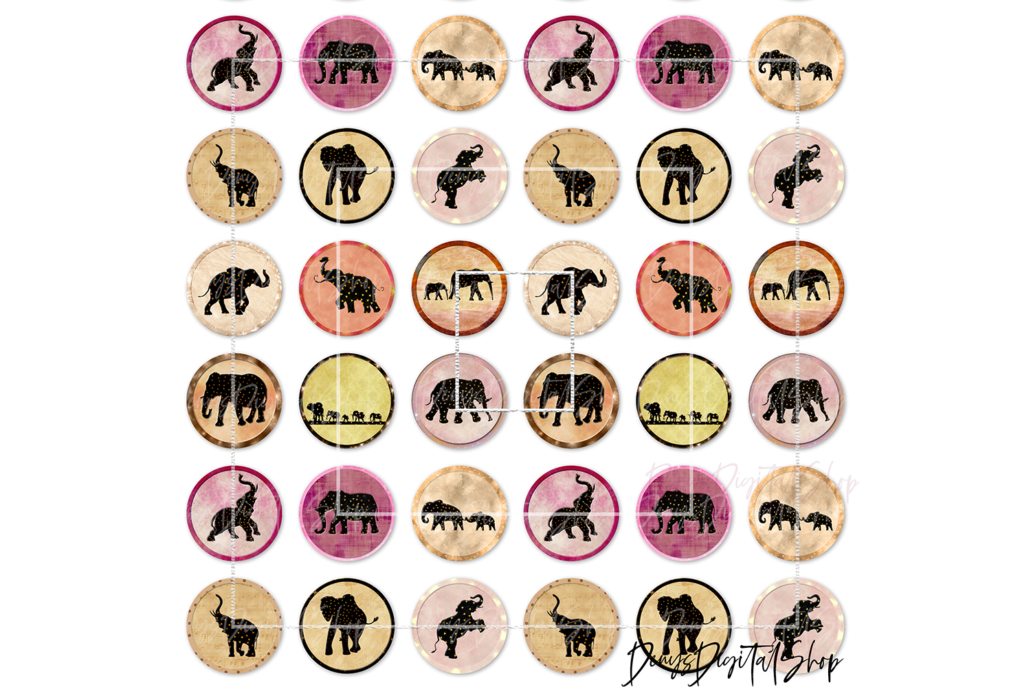 Elephants Digital Printable Sheet, Cabochon images, Rounds example image 2