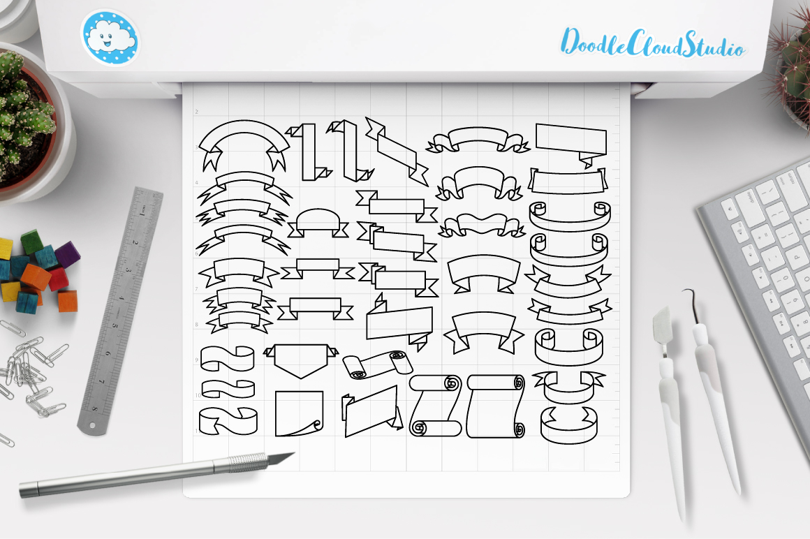 Ribbon SVG, Scroll banner SVG files for Silhouette Cameo and Cricut. Ribbon outline, Banner clipart PNG included, clipart PNG transparent example image 2