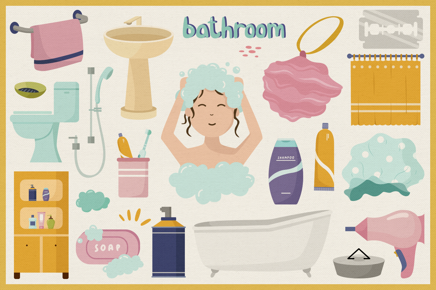 In The Bathroom Vector Clipart and Seamless Pattern example image 4