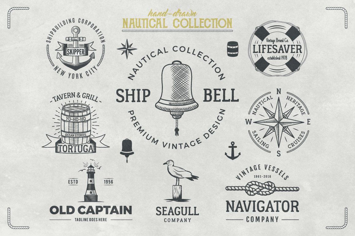 Vintage Nautical Logo Collection example image 2