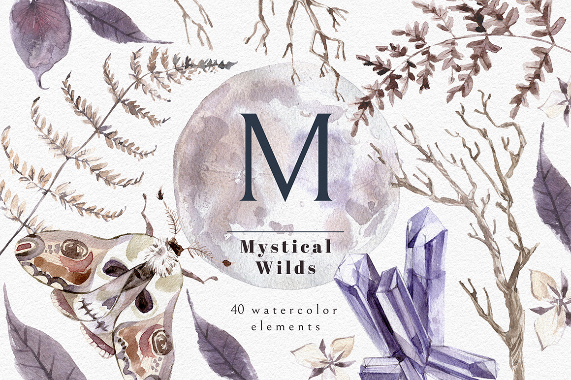 Mystical Wilds. Watercolor set. example image 1
