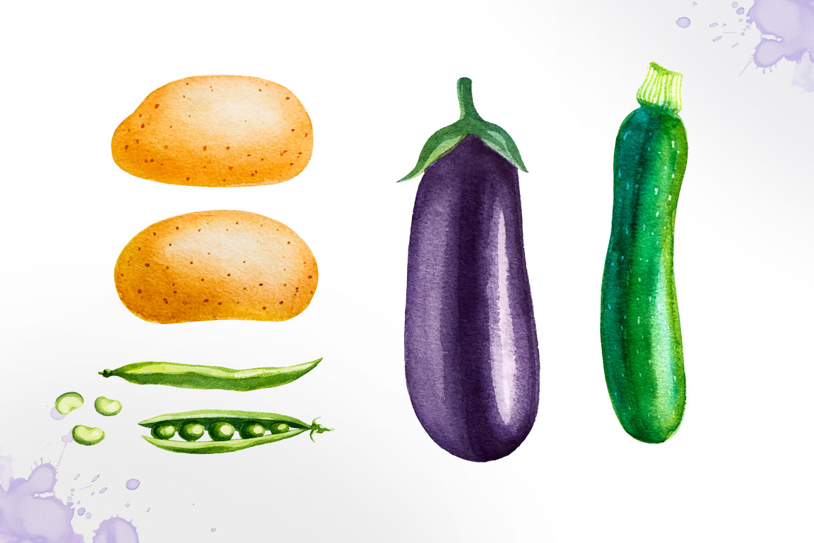 Watercolor vegetables example image 7