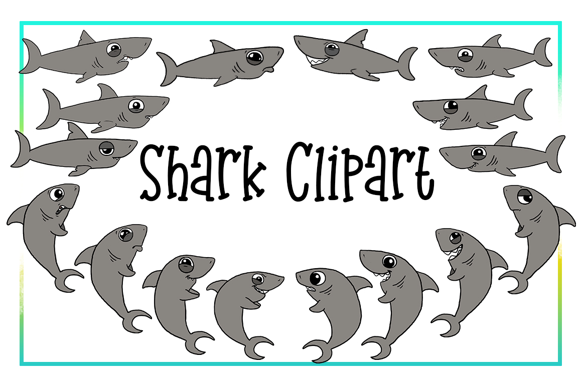 Shark Clipart- Nautical Clipart-Emotions Clipart-Cartoon-Sticker Clipart-Digital-Shark week-Shark Art-Funny-Digital Sloth-Sloth Drama-Commercial example image 1