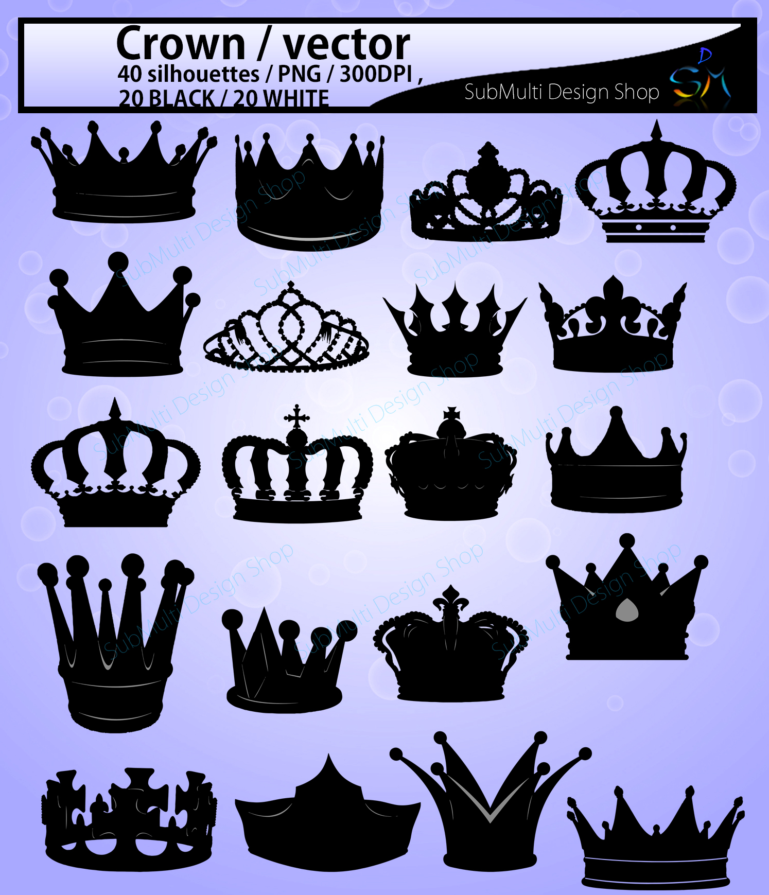 crown svg / crown /crown clipart / crown silhouette vector example image 2