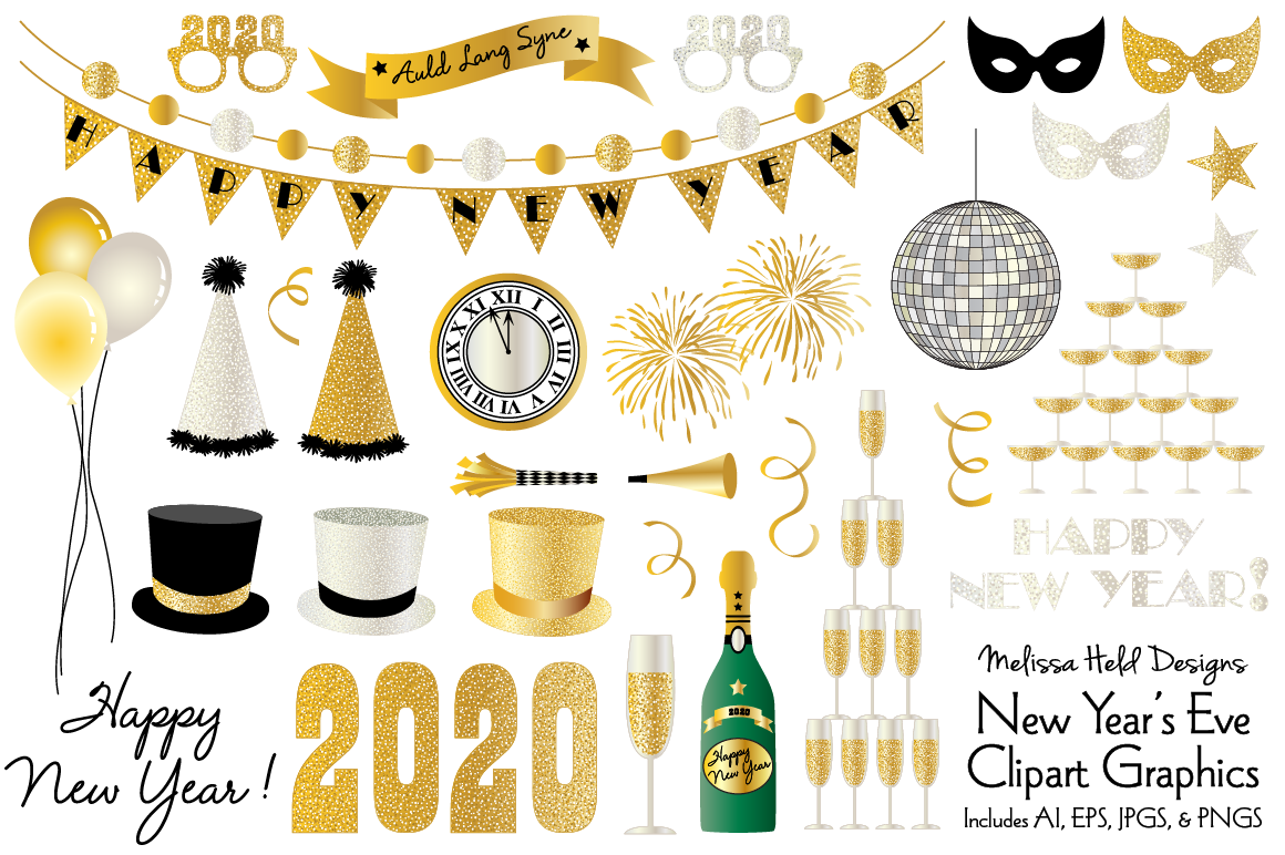 New Year's Eve 2020 Clipart example image 1
