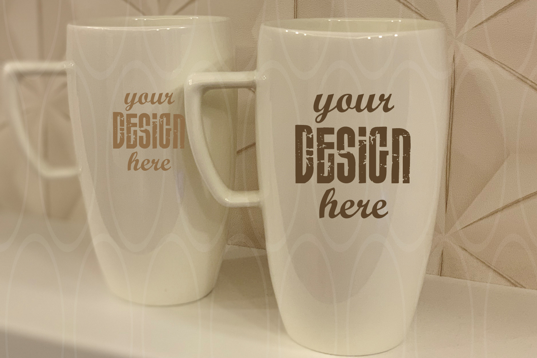 Blank White Coffee Glass Cups Mockup Mugs mock up example image 1
