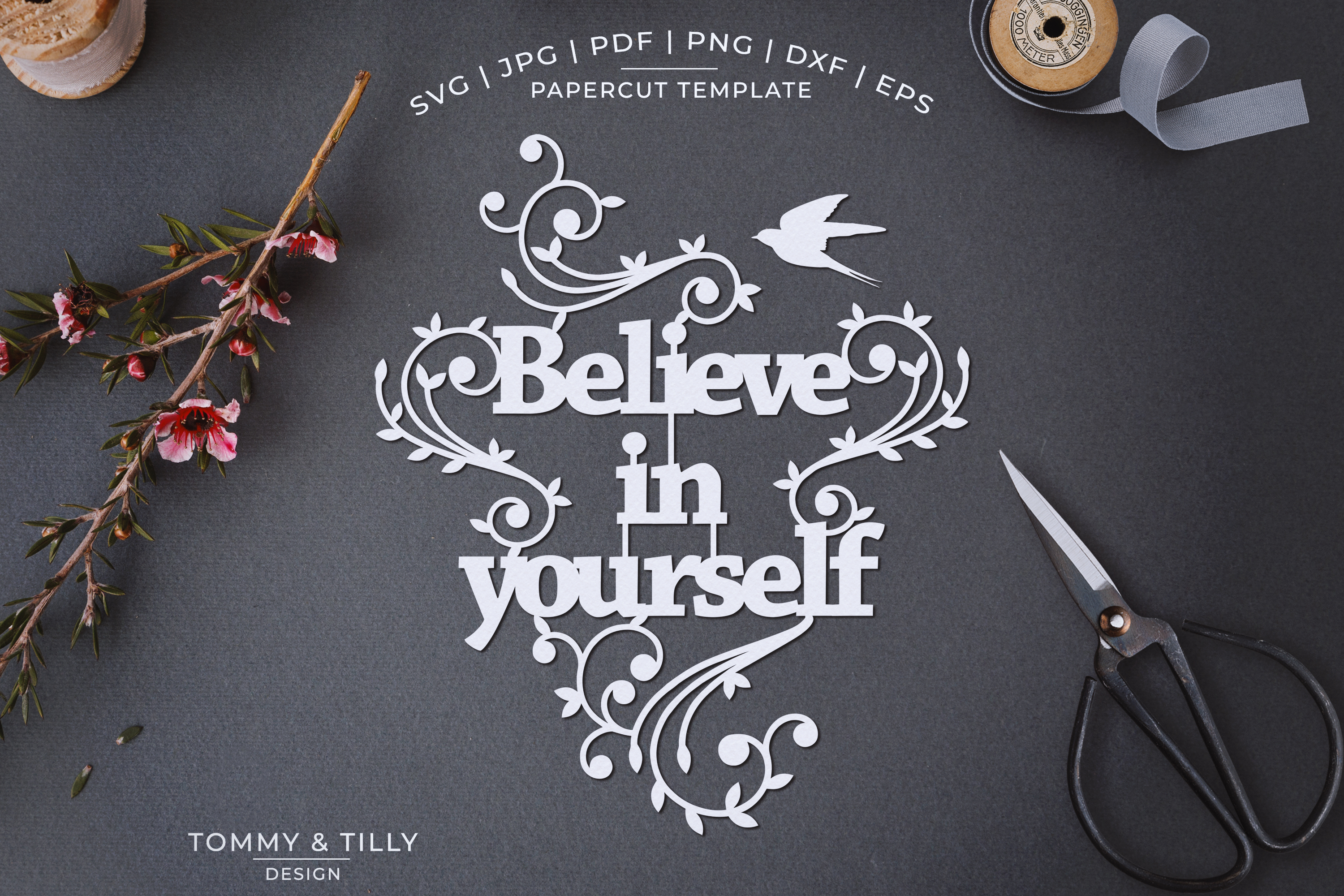 Believe in yourself - Papercut SVG EPS DXF PNG PDF example image 1