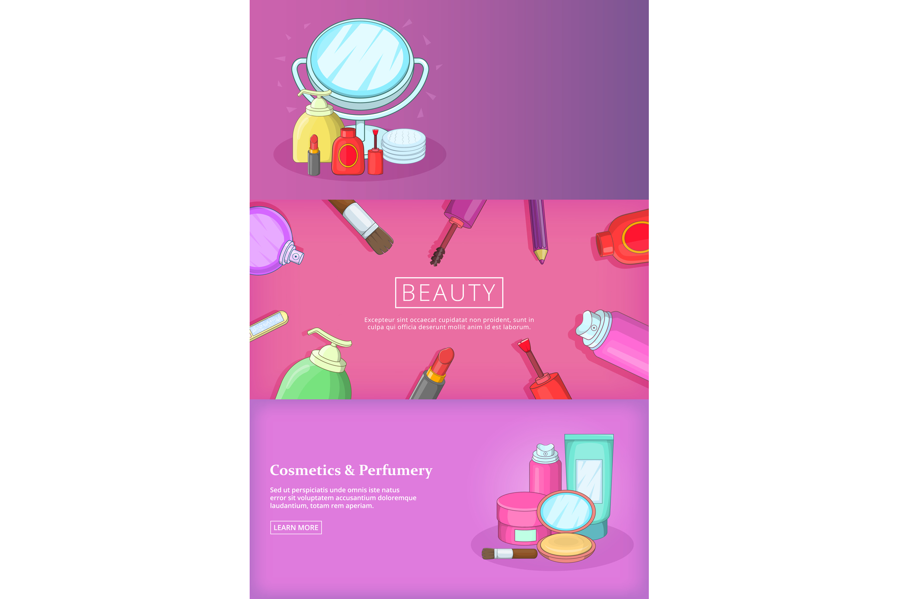 Beauty banner set template, cartoon style example image 1