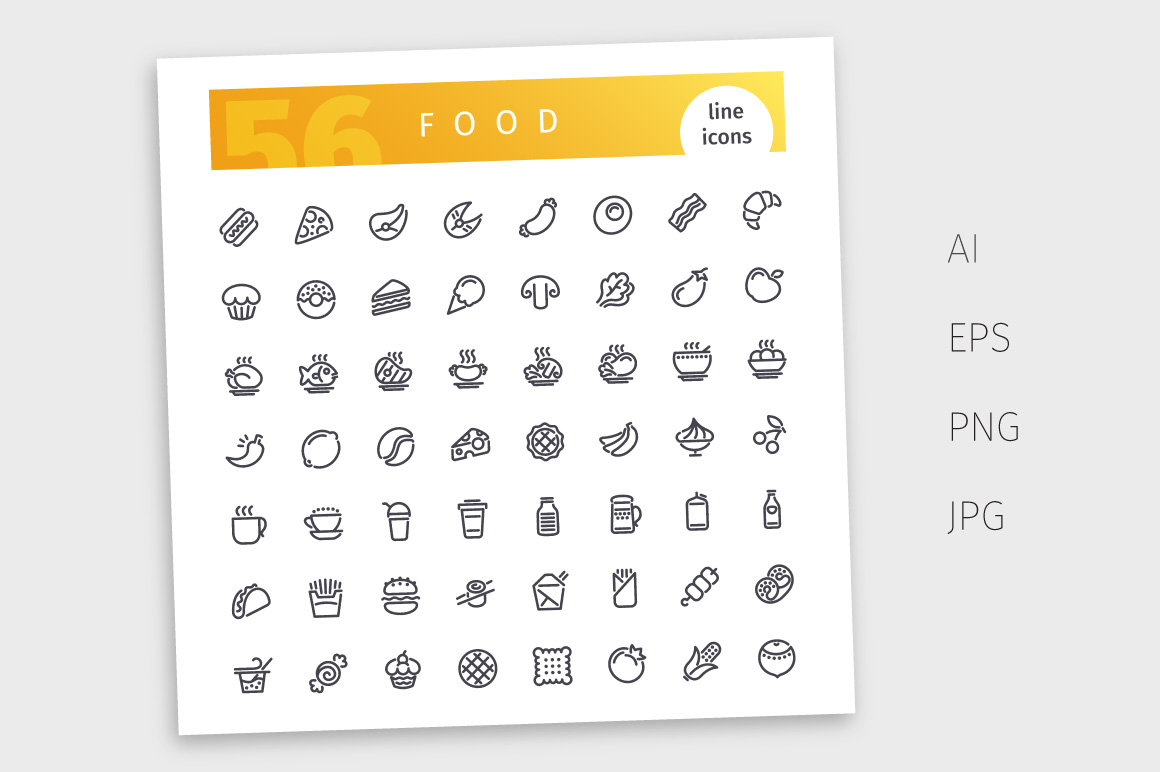 Food Line Icons Set example image 4