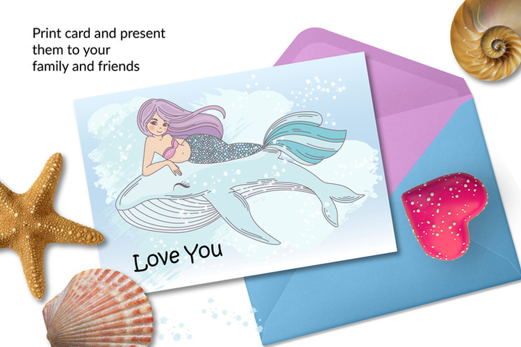 MERMAID IN LOVE Tropical Travel Vector Illustration Set example image 8