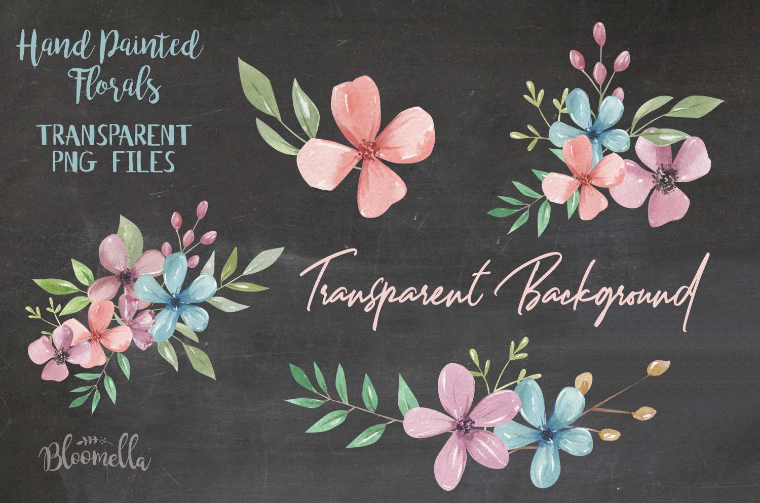 Candy Shop Watercolor Flowers 17 Elements Florals Leaves example image 3