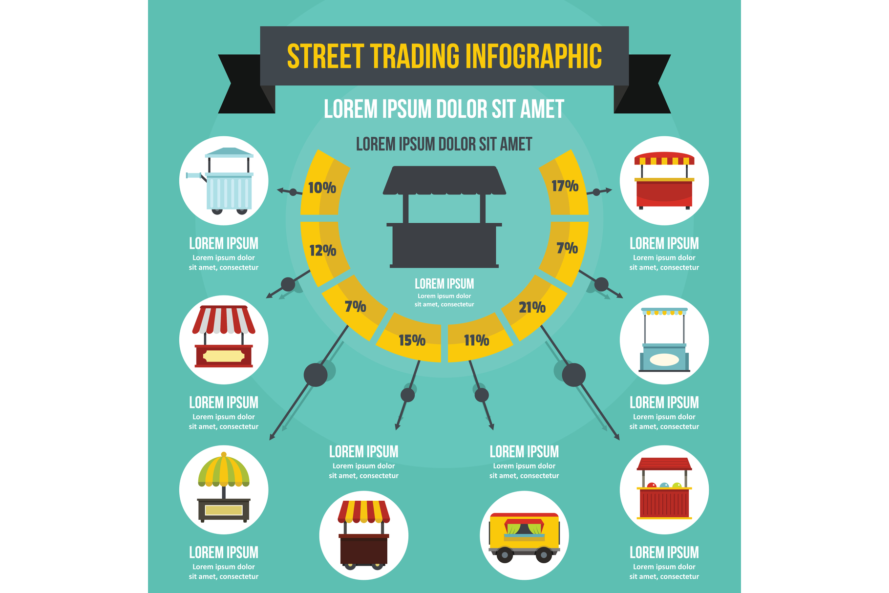 Street trading infographic concept, flat style example image 1