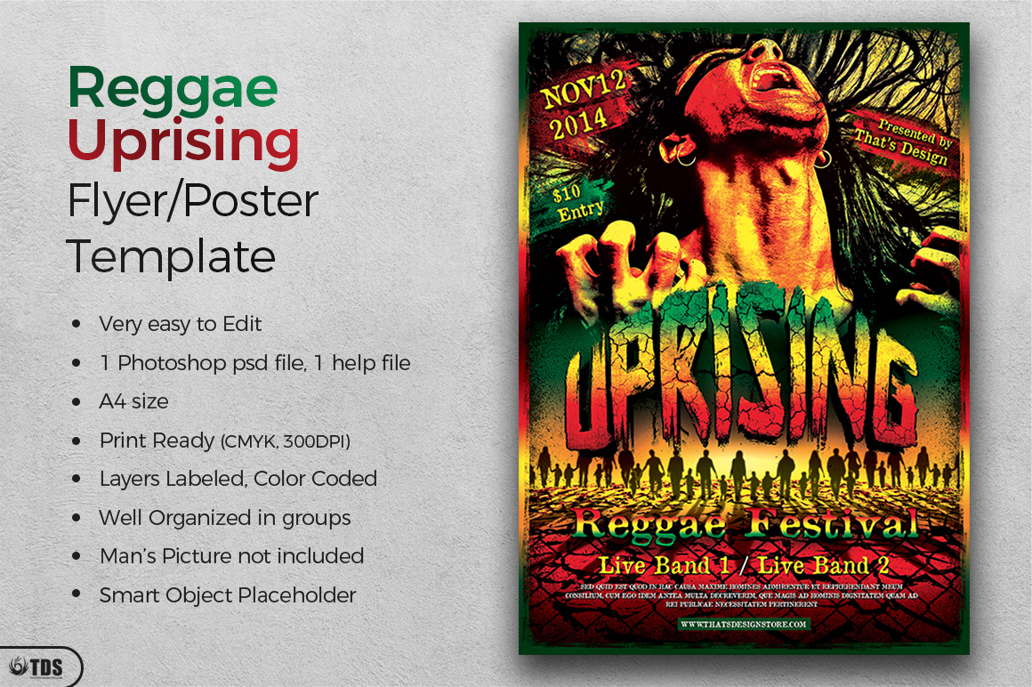 Reggae Uprising Flyer Template example image 2