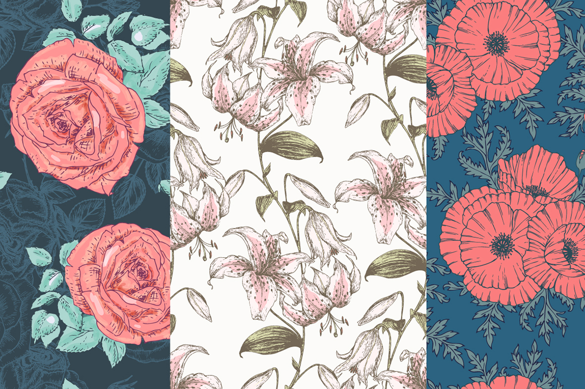 Hand Drawn Floral Vector Patterns example image 2