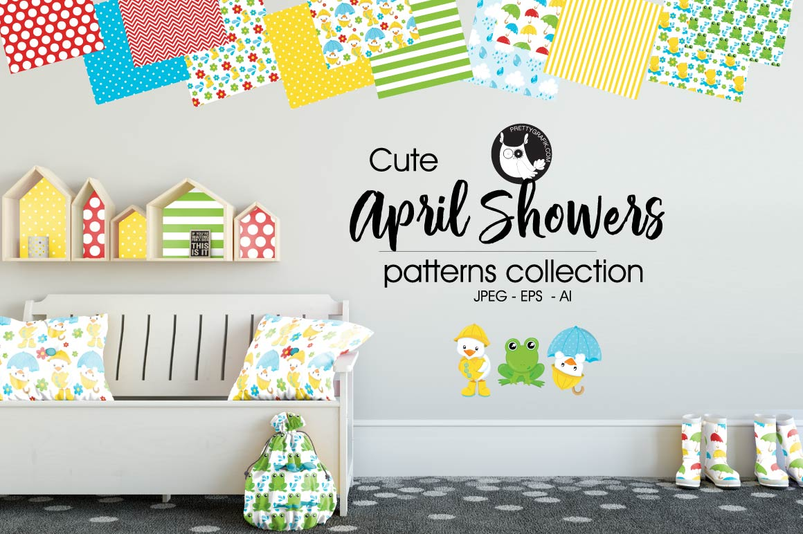 April-showers, digital papers example image 1