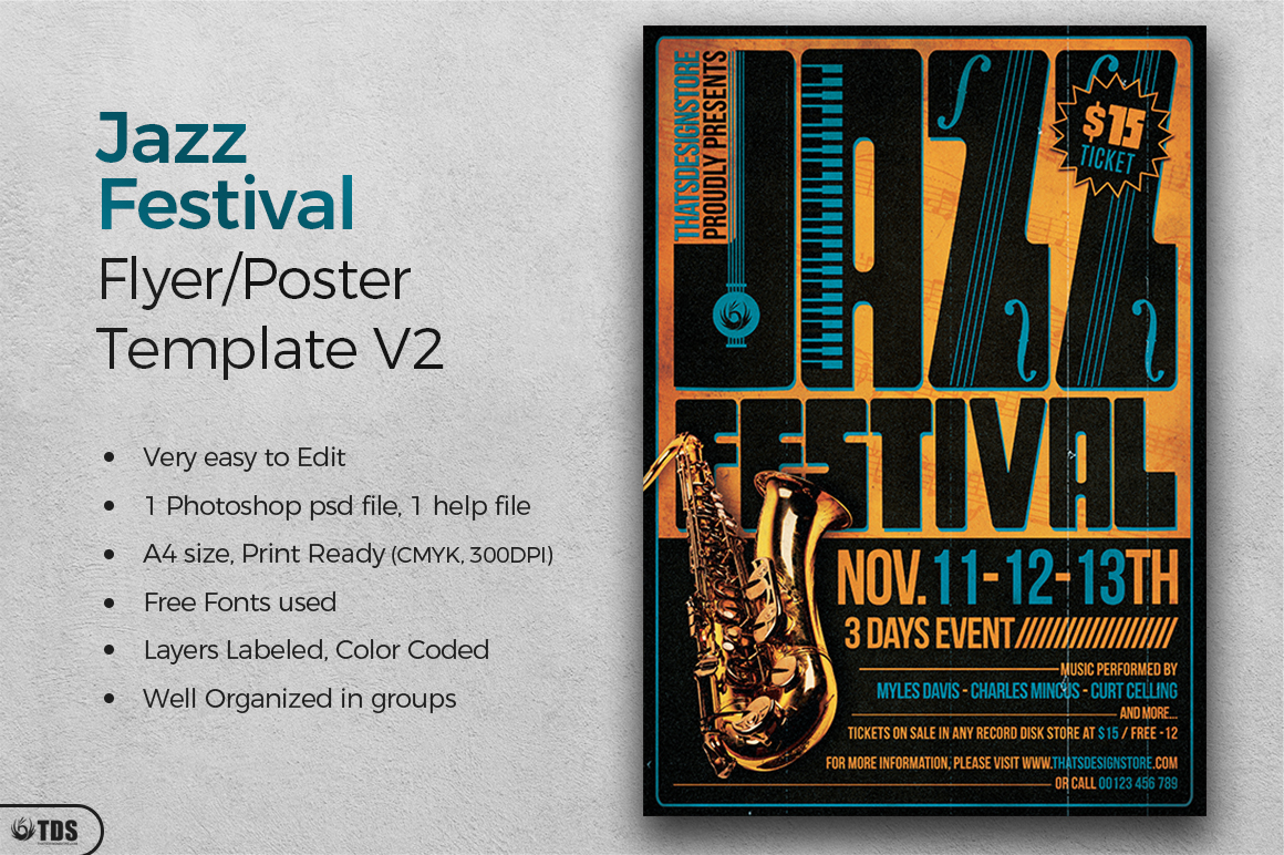 Jazz Festival Flyer Template V2 example image 2