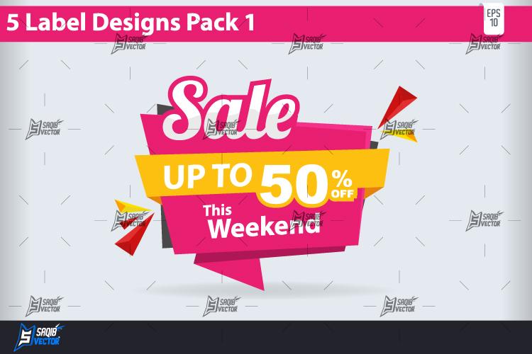 5 big sale label design pack vector by design bundles