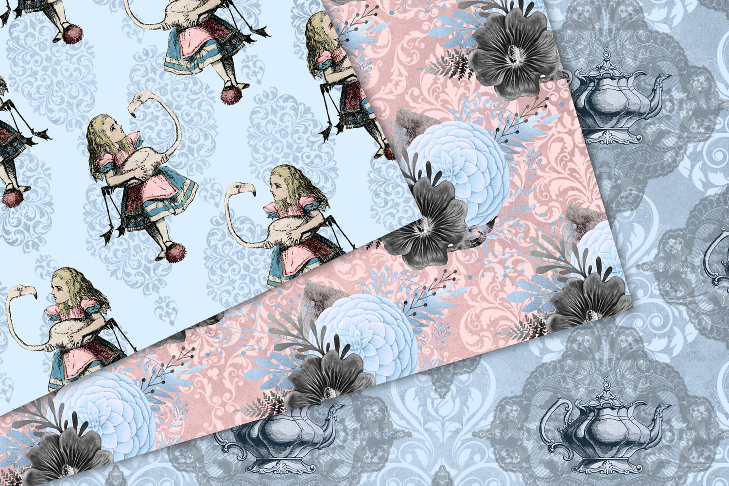 Alice In Wonderland Blue and Blush Digital Paper example image 4