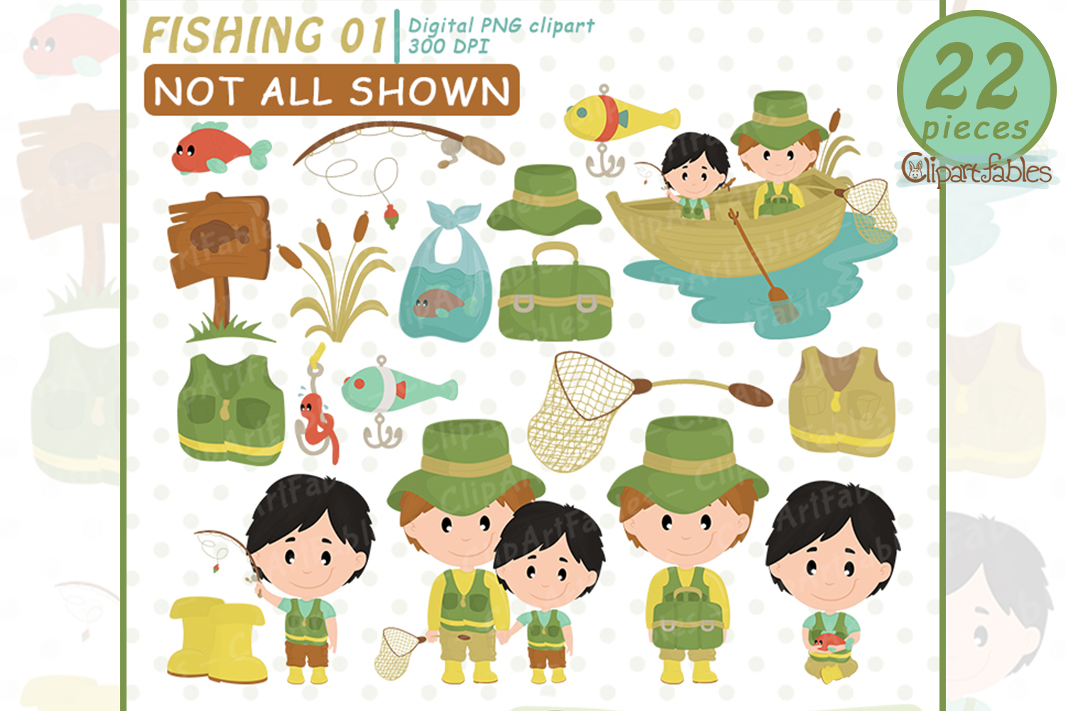 FISHING clipart, Cute FATHER'S DAY clip art, Instant Downloa example image 1