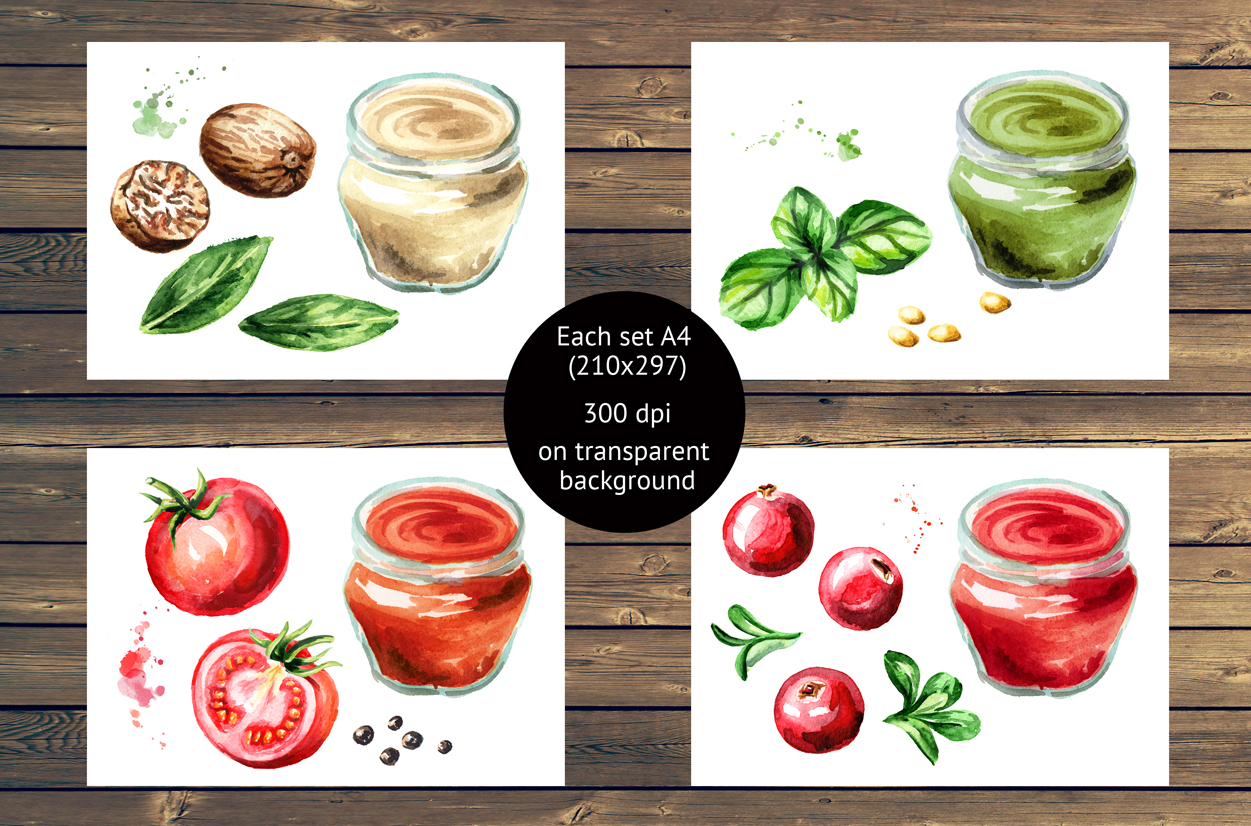 Sauce collection. Watercolor set example image 2