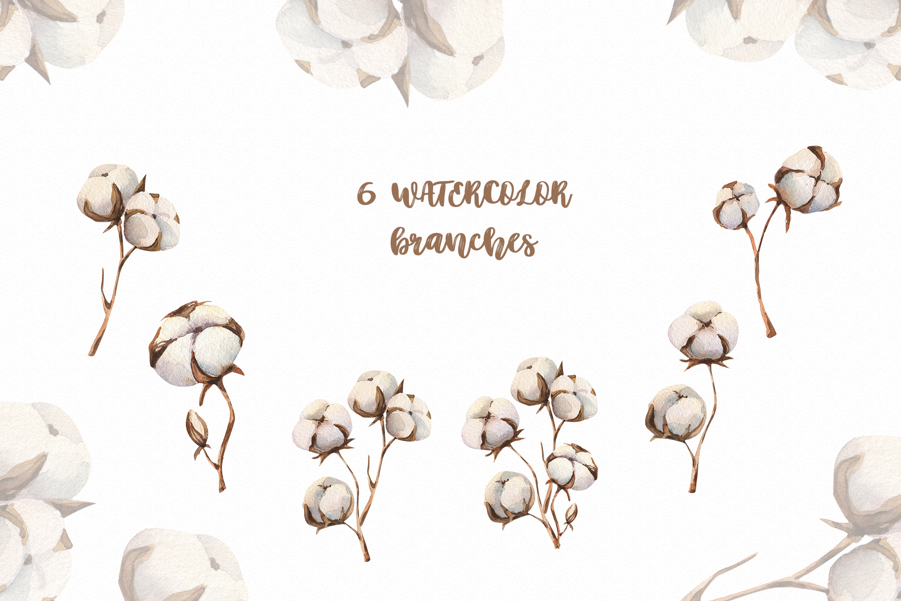 Watercolour Cotton clipart, branches winter watercolor example image 2